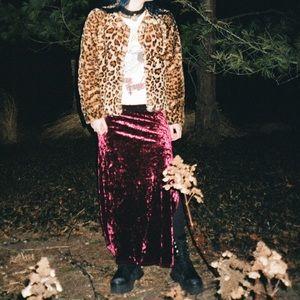 Cropped Leopard Print Faux Fur Coat